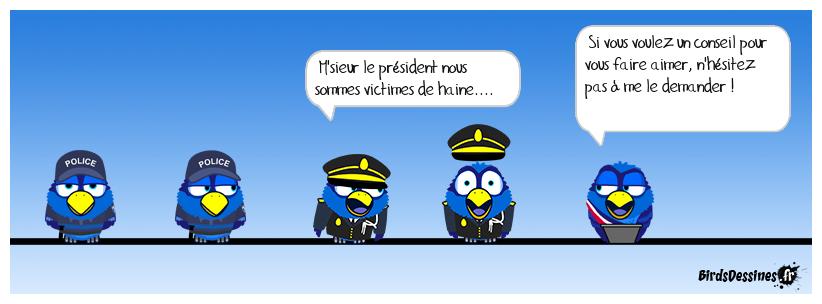 les policiers réconfortés par le président....